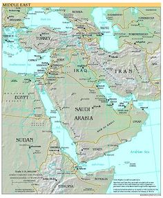 This is a physical map of the Middle East. It shows us the main ...
