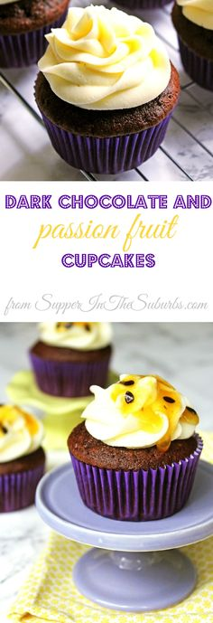 These Dark Chocolate and Passion Fruit Cupcakes are a fun summer treat made with fresh passion fruit and top quality dark chocolate. Why not bake for a baby shower, garden party or post-BBQ pudding!