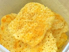 Low carb cheese crisps.  Crunchy!