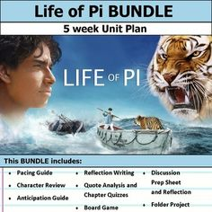 5 weeks of lesson plans. Includes pacing guide, film essay, activities, chapter quizzes, and discussions. This bundle has everything you need to get started teaching Life of Pi in an engaging way!