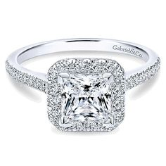 14k White Gold Diamond Princess Cut Halo with French Pave Shank