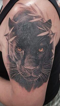 Kiss Tattoos, Head Tattoos, Tatoos, Panther Tattoos, Black Panther Tattoo, Inner Bicep Tattoo, Arm Tattoo, Jaguar Tattoo, Skyline Tattoo