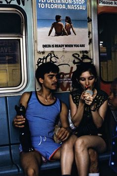NYC. Living life to the full on the subway,1980s. When you are ready, you don't need Delta to go to Florida...