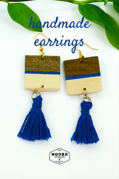 The bohemian blue tassel earrings are making by hand. Depending on your choice they can have a colored stripe on wood earrings. #indigoearrings #woodenearrings #woord_art Blue Tassel Earrings, Wooden Earrings, Cute Earrings, Boho Earrings, Statement Earrings, Earrings Handmade, 40th Birthday Gifts For Women, Mom Birthday Gift, Best Friend Gifts
