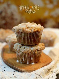 Pumpkin apple cream cheese streusel muffin