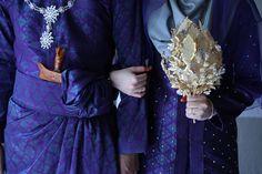 Close Up of Malay Wedding Attire - Songket & Hand Bouquet