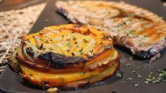 Mi puchero: Milhojas de calabaza, patatas y puerros con emperador a la plancha o los colores del otoño. Reto de Octubre