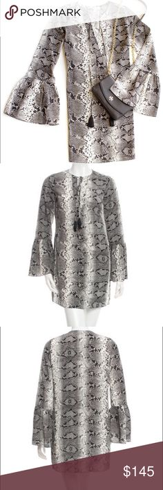 "Elizabeth and James Snake Print Dress Silk Elizabeth and James Silk Snakeskin Dress.  100% silk. Approx. 32"" long; 37"" bust. Size XXS. Worn once. Like new. Cute tassels and bell sleeves. Elizabeth and James Dresses Mini"