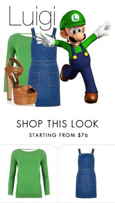 """Luigi"" by basic-disney ❤ liked on Polyvore featuring FRACOMINA, River Island and Brian Atwood"