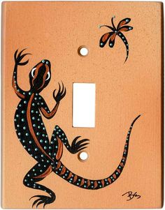 BLACK LIZARD on SAND Switch Plates, Outlet Covers & Rocker Switchplates