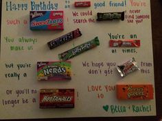 63 trendy Ideas birthday poster board with candy Birthday Candy Posters, Candy Birthday Cards, Candy Cards, Funny Birthday Presents, Birthday Messages, Birthday Quotes, Birthday Wishes, Candy Poster Board, Candy Bar Posters