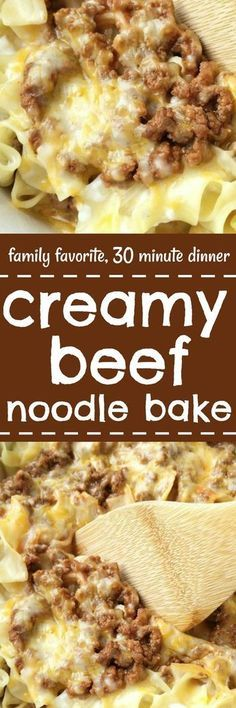 Creamy Beef Noodle Bake is the best dinner recipe! Even picky eaters love it. Tender cheesy noodles, seasoned ground beef, and cheese | togetherasfamily.com