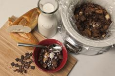 Slow Cooker Chocolate Pecan Bread Pudding - Tip: Make your bread pudding in a slow cooker! By using a slow cooker liner, you'll save time on cleanup. And, miniature semi-sweet chocolate morsels make a great substitute for the grated semi-sweet chocolate.