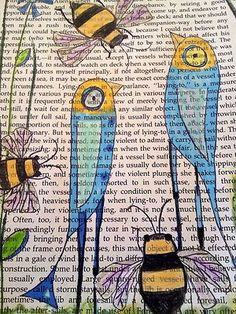 ≗ The Bee's Reverie ≗  Birds & Bees Art on Book Page