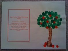 Handprint calendar:  September - fingerprint apple tree and school poem