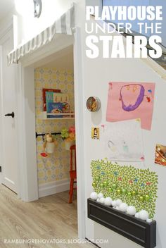 A Sweet Little Playhouse Tucked Under the Stairs!  Love my neighbor's blog!  Www.hookedonhouses.net