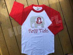 Alabama Roll Tide | Crimson Tide | SEC College football | gameday raglan jerseys | 3/4 length sleeve | initials elephant Roll Tide by HokesBluffVinylShop on Etsy