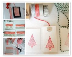 Washi tape, buttons, stamps, baker's twine
