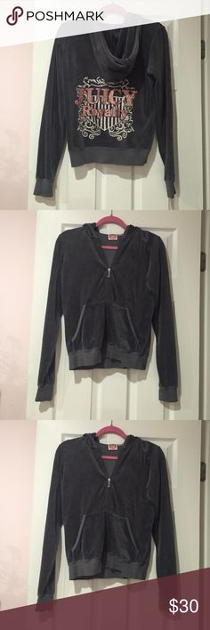 Juicy jacket Juicy Couture velour gray tracksuit jacket! In perfect condition! Fits more like a medium, but the tag says large Juicy Couture Tops Sweatshirts & Hoodies