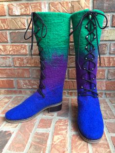 Colorful wool boots, wet felted, for Yvonne