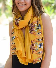 Loving this Mustard Paisley Embroidered Scarf on #zulily! #zulilyfinds