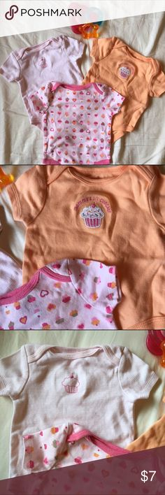 Cupcake Onesie Bundle Three assorted Circo onesies, Orange and pink colors with cupcake themed logos. GUC                                                                                              🎈💛💚💙💜❤️🎈                                              Bundle 2+ get 20% off                                             Bundle 4+ get 25% off                                                Bundle 6+ get 40% off 🎉 Circo One Pieces Bodysuits