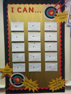 Target Board.   I've created a board in my classroom with an envelope for each child. Each child has a target card. Once they have achieved their target, they place the card into their envelope. It's a useful way to track their progress against the new 2014 curriculum objectives.