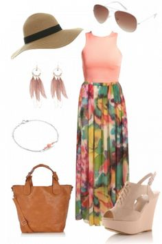 Cute summery outfit with floral maxi skirt and Miss Selfridge floppy hat :) #outfit #style