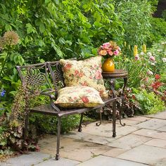 Keep it Simple.  Sometimes the most enjoyable, charming spots are little quiet corners. So look for nooks in your yard where you can put a bench and a small side table and make a mini patio to enjoy your landscape.
