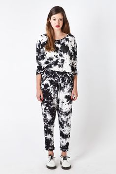 TIE DYE 3/4 Sleeve Top in Black & White Black Tops, Black And White, Heart Print, Tie Dye, Jumpsuit, French Toast, Sleeve, Dresses, Fashion