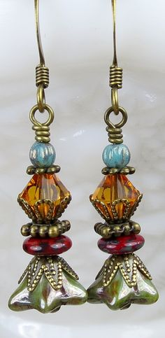 Unique Earthy red, green, Topaz gold and blue rustic beaded dangle drop earrings, Bohemian Botanical floral and Boho inspired jewelry.