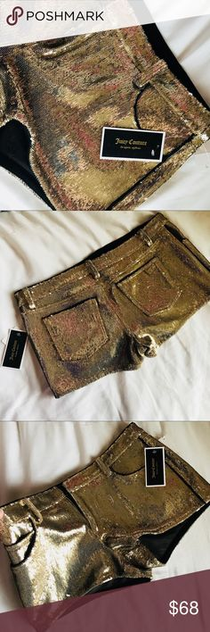 Juicy Couture Gold Sequin Shorts (Size 6) TWINKLE TWINKLE!!✨ The most fabulous shorts under the sun! You will feel like a star wearing these shorts! Absolutely gorgeous & ultra chic! These shorts will add flair to any look- sweaters, t-shirts, even prints! They are a super pair of statement shorts, amazing for summer, and with tights and boots it's super cute look for winter! Never worn, in great condition. Brand new! :) Juicy Couture Shorts