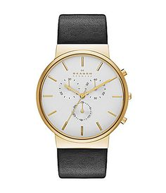made for a man, but i'd totally rock this watch! // skagen black leather and gold chonograph