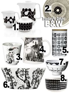 black and white dishes