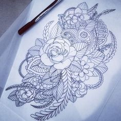 Floral sketch for an upper arm sleeve start