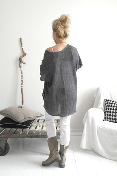 Oversize Linen Knit, DARK GREY