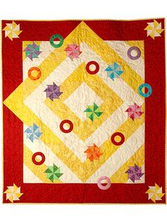 Pieced Baby Quilt Downloads - Pinwheels and Rings Pattern