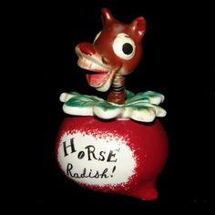 RARE Vintage Holt Howard DAVAR HORSE RADISH Pixie Nodder Jar - Pixieware