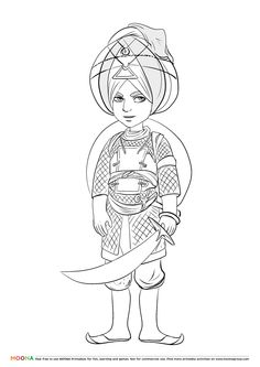 #Free #Printable Coloring Pages for toddlers and preschoolers: #sikh. Click through to customize and download free color pages for kids as a FREE PDF  http://www.moonagroup.com