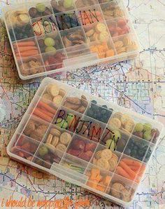 ROAD TRIP SNACK BOXES...such a great idea for Travel, the Beach, Picnics, etc...for the Kids. Love this idea! What do you think? http://www.ishouldbemoppingthefloor.com/2015/07/road-trip-snack-boxes.html