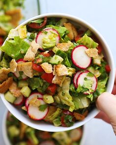 Healthy Dinner Recipes Discover Fattoush Salad This delicious Middle Eastern fattoush salad has vegetables fresh herbs crispy pita bread and a sumac dressing. Great as an appetizer or served with protein for a meal. Healthy Salad Recipes, Raw Food Recipes, Vegetarian Recipes, Cooking Recipes, Fresh Salad Recipes, Vegetable Salad Recipes, Cucumber Recipes, Healthy Menu, Healthy Lunches