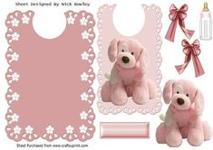 Pink fluffy puppy with bows on a lace bib on Craftsuprint - Add To Basket!