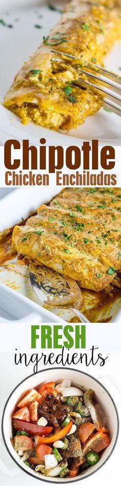 Chipotle Chicken Enchiladas Recipe...made from fresh ingredients, not cream…