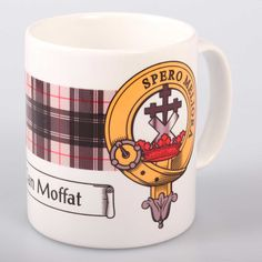 Moffat clan crest and tartan mug. Free worldwide shipping available