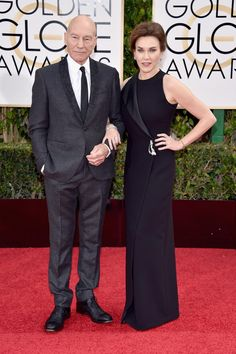 Actor Sir Patrick Stewart (L) and Sunny Ozell attend the 73rd Annual Golden Globe Awards held at the Beverly Hilton Hotel on January 10, 2016 in Beverly Hills, California.