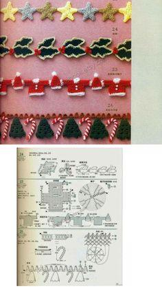 Christmas Crochet Patterns, Crochet Flower Patterns, Crochet Flowers, Christmas Crafts, Christmas Decorations, Xmas, Book Crafts, Diy And Crafts, Crochet Borders