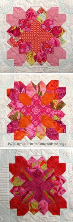 Patchwork of the Crosses by Carol in Panama - see more of Carol's blocks on the Postcards from Panama blog  https://pananani.wordpress.com/category/patchwork-of-the-crosses/ Hexagons printed with Inklingo and sewn with a running stitch (not EPP).
