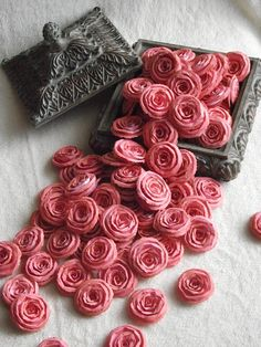 Items similar to Handmade Wedding Paper Piece Set of Custom Made Very Pretty Shabby Chic Scrapbook Paper Flower Rolled Roses on Etsy Paper Doilies, Paper Roses, Handmade Tags, Handmade Wedding, Etsy Handmade, Paper Flowers Wedding, Wedding Paper, Birthday Sentiments, Flower Invitation
