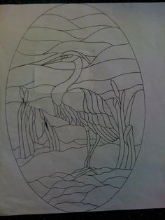 Free stained glass pattern of heron oval compliments of Sandy Burnett of GlassMoose.com
