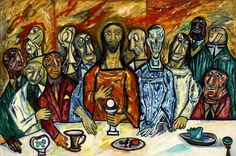 F N Souza 1990 121 cm x 183 cm oil on canvas Last supper